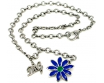 D&G DJ0429 Silver Chain Pendant Necklace Blue Fl..