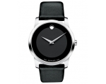 Movado Black Dial Black Leather Strap Men's Watc..