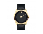 Movado Black Dial Leather Men's Watch 0606876