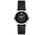 Movado Black Dial Black Leather Strap Ladies Wat..