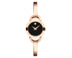 Movado Black Dial Ladies Rose Gold Tone Watch 06..