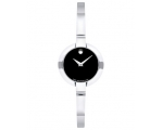 Movado Bela Black Dial Stainless Steel Bangle La..
