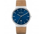 Skagen Ancher Blue Dial Tan Leather Men's Watch ..