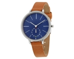 New SKAGEN Genuine Leather Band Blue Dial SKW235..
