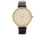 Skagen Anita Gold Dial Black Leather Ladies Watc..