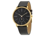 SKAGEN men's black leather band SKW6217 watch