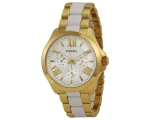 Fossil AM4545 Two Tone Gold and White Chronograp..