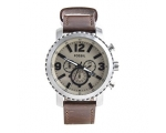 Fossil BQ2101 Big Face Silver Bezel Brown Leathe..