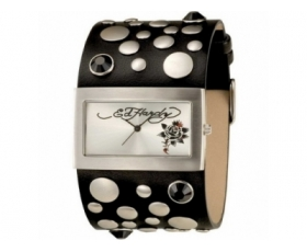 Ed Hardy EDLC-BR Ladies Lovechild Black Leather Strap Watch