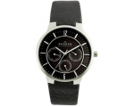 Skagen Mens 331XLSLB Steel Black Leather Multi-F..