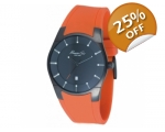 Kenneth Cole KC1628 Mens Orange Silicon Strap Bl..