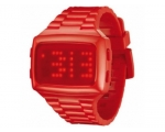 LED Unisex Digital Red Dial And Pu Strap Watch