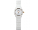 Skagen Ladies White Ceramic Watch Goldtone Cryst..