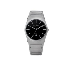 Skagen Denmark Mens Watch Steel Links Black Dial..