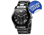 Emporio Armani Watch Men's Chrono Black Ceramic ..