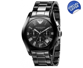 Emporio Armani Watch Men's Chrono Black Ceramic Bracelet AR1400