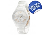 Armani AR1417 Chronograph White Ceramic Ladies W..