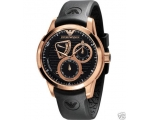 New Emporio Armani Mens Black Rose Gold Watch AR..