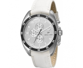 Emporio Armani Watches AR5915 Mens Sports Luxe Silver White Watch