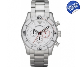 armani watches ar5932 mens sports luxe white steel watch emporio armani watches ar5932 mens sports luxe white steel watch
