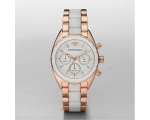 Emporio Armani AR5942 Women Rose Gold White Spor..