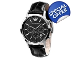 Armani AR2447 - Mens Chronograph Leather Strap W..