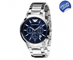 Emporio Armani Watches AR2448 Classic Blue Silver Mens Watch
