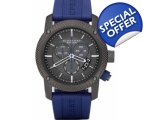Burberry BU7714 Mens Sport Grey Dial Blue Rubber..