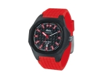 iTime Unisex Quartz Watch Black Dial Red Strap P..