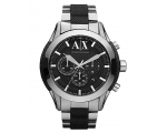 Armani Exchange Black Dial Steel and Silicone Me..