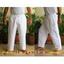 White Cotton Trousers-Pants, Drawstri..