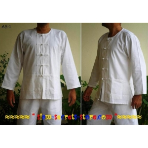 Loomed Cotton Mens Shirt Asian KungFu toggle Jacket White long sleeve