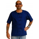 Blue Mens Shirt Asian Kung Fu Style S..