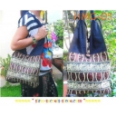 Sling Shoulder Bag Boho, Cotton and B..