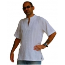 Mens White Shirt Stylish Kurta Ribbed..