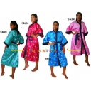 Stylish Satin Robe Silky Asian Kimono..