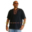 Mens Black Cotton Kurta Asian Shirt E..