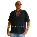 Mens Black Shirt Cotton Kurta Embroid..