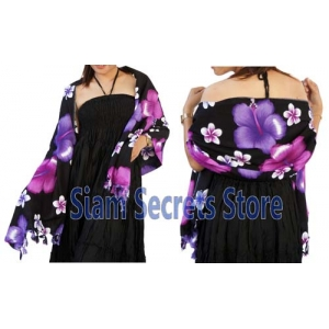 Black Floral Sarong Stunning Purple Hibiscus Flower Luxurious Rayon