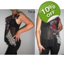 Sexy Sheer Black Chiffon Ladies Top R..