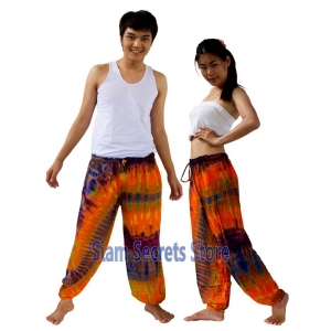 Tie Dye Hippy Trousers Orange Pattern Beach pants Unique Unisex