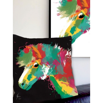 Pony Print Cushion- Colourfu..