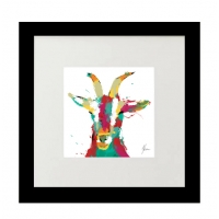 Framed fine art print- Scruffy Goat Gold Foil Finished