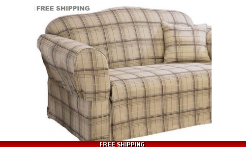 Sure Fit LOVESEAT Slipcover Plaid Tan Brown Tailored Skirt Cover