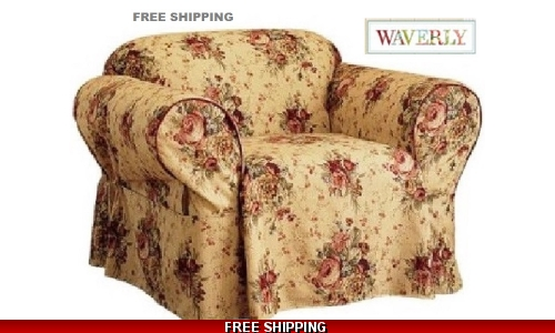 Waverly CHAIR Slipcover Harbor House Toile Floral Sure Fit Yellow Gold