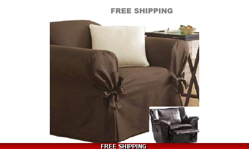 Reclining CHAIR Slipcover Ribbed Texture Chocolate Sure Fit Armchair