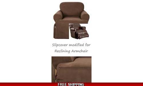 Reclining CHAIR Slipcover T Cushion Suede Chocolate Sure Fit Armchair
