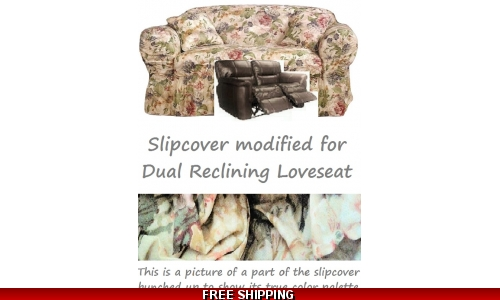 Dual Reclining LOVESEAT Slipcover Shabby Victorian Floral Sure Fit