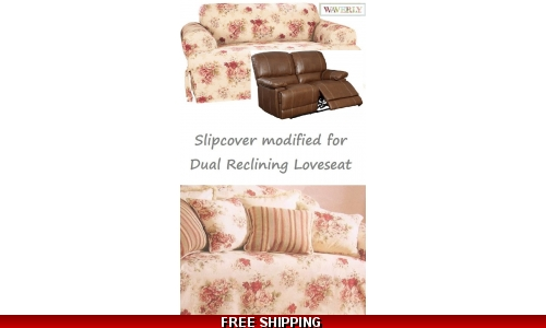 Dual Reclining LOVESEAT Slipcover T Cushion Waverly Vintage Rose Cover