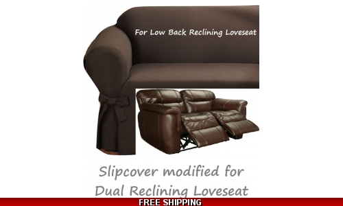 Dual Reclining LOVESEAT Slipcover Ribbed Texture Chocolate Low Back